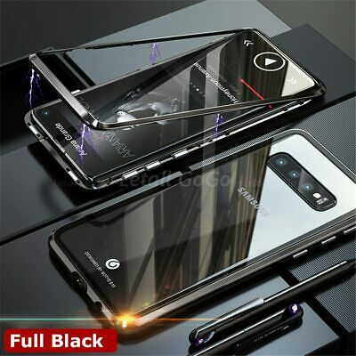 Samsung Galaxy A7 2018 S10 5G Plus Magnetic Metal Tempered glass Back Case Cover