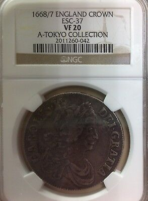 "1668/7 England Crown (ESC-37) - NGC VF20 ""A-Tokyo Collection"""