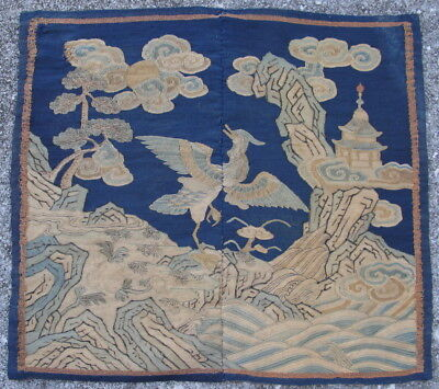 Antique Chinese silk textile Mandarin bagde 7th rank duck kossu kesi 18thC faded