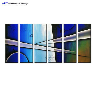 Large Modern Abstract Blue Oil Painting on Canvas Wall Art Framed Home Decor H54