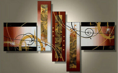 Framed 5 Panel Large Wall Art Abstract Oil Painting on Canvas Modern Art Abs03
