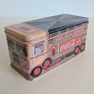 Coca Cola Bottle Truck Lidded Tin Box 1993 Vintage Metal Coke Sign Lid Container