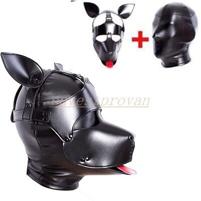 PU Leather Dog Hood Head Harness Mask Corset 2 in 1 Slave Gorgeous Fancy Fantasy
