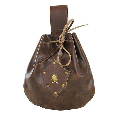 Leather Sea Captains Gentlemans Drawstring Pouch