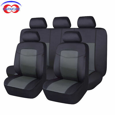 Flying Banner PU Leather Seat Covers Set Universal Car SUV Van Black Gray
