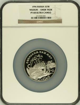 Russia 1996 Tiger Silver 5 Oz 25 Rouble NGC PF68
