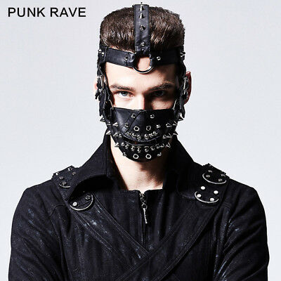 Punk Rave Goth Steampunk Black Fahison Rivet Mask Cosplay Performance Clothing
