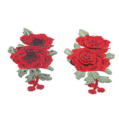 1 Pair Red Rose Embroidered Sewing On Patch Patch Stickers For Clothes Applique