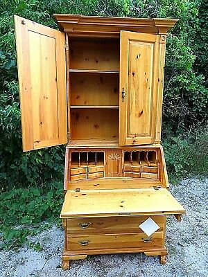 Knotty pine Slat top claw foot Secretary desk country cabinet by link & Taylor