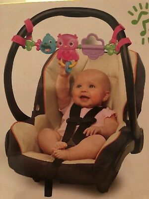 Car Seat Toy Bar Carrier Stroller Bright Starts Busy Birs Pretty In Pink New