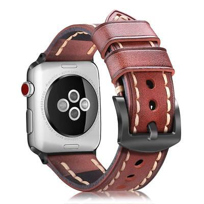 For New iWatch Apple Watch Series 4 44mm 2018 Genuine Leather Strap Wrist Bands