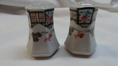 Salt and Pepper Japanese ? Nippon? Vintage Enameled White/Pink/Blue/Black/Gold