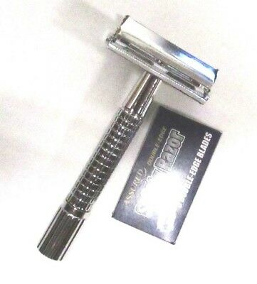 Men's Traditional Classic Double Edge Chrome Shaving Safety Razor with Blades