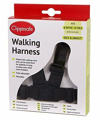 Children Toddler Clippasafe Walking Harness and Reins Black 6 months - 4 years