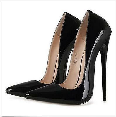 Sexy Sz35-44 Womens Stiletto Patent Leather Pumps Pointed Toe High Heel Shoe