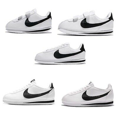 huge discount 71c71 7af4c Nike Classic Cortez Leather White Black Family Shoes Mens Womens Kids Pick 1