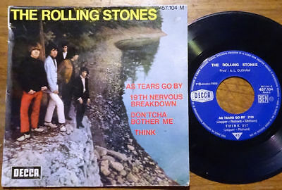 """The Rolling Stones EP As Tears Go By +3 Decca 457.104M France 1966 45 7"""" Single"""