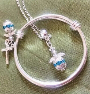 """Baby Bangle & Angel Blue Charm + Sterling Silver 18"""" CHain/in A Box."""