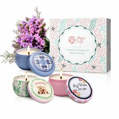 Peppi Life Scented Candles Set, Rose, Lavender Peach, 2.5oz Each 100% Soy Wax,