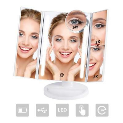 NEX Tri-Fold Lighted Vanity Makeup Mirror with 24 LED Lights, Touch Screen and
