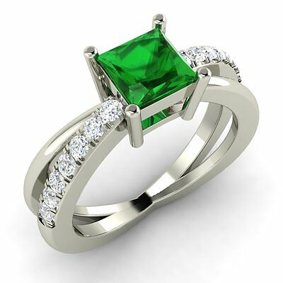 Princess Cut Natural Emerald & Diamond Engagement Ring in 18k White Gold