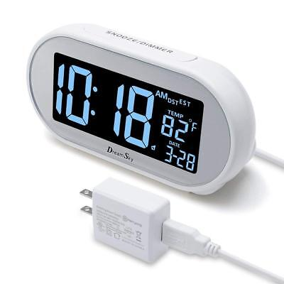 Time Set Alarm Clock Snooze And Dimmer Charging Phone Charger Dual USB Port