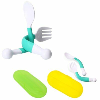 2 Pack Baby Spoon Fork Set with Carrying Case Children Feeding Spoon and Fork