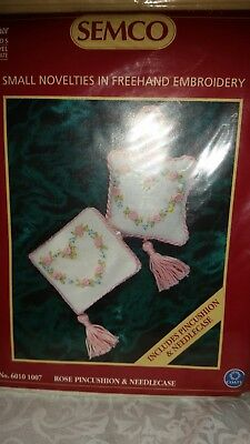 Rose Pincushion & Needle Case Kit by Semco Embroidery New Free Postage