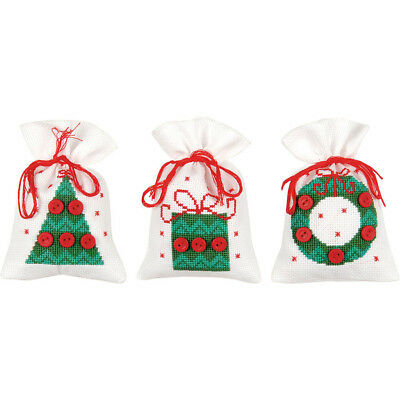 Christmas Buttons Trio of Sachet Bags Cross Stitch Kit  New Free Post