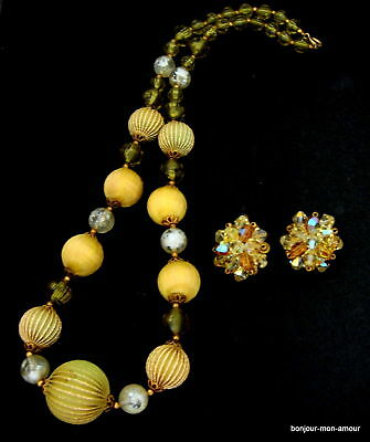 1950's edel Lucite Collier & Aurora Kristall Ohrclips Ohrringe Earrings Necklace