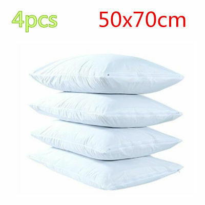 4pcs Waterproof Zipper Opening Pillow Protector Case cover Anti-allergy 50x70cm
