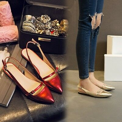 Hot Sale Ladies Flats Strappy Buckle Pointy Toe Slingback Fashion Shoes New