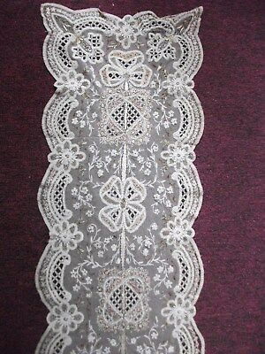 Intricate Antique Lace Panel with beading & scalloped edge - approx 150 x 30cm