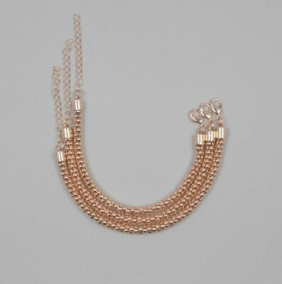 "7 X Rose Gold Plated Brass Popcorn 7"" Bracelet with 2.5"" Extender Chain"