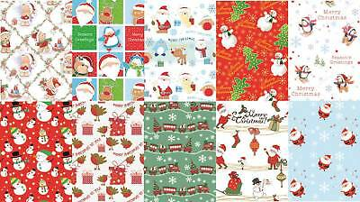 10 Assorted Sheets Thick Christmas Gift Wrapping Paper - Cute Xmas Designs