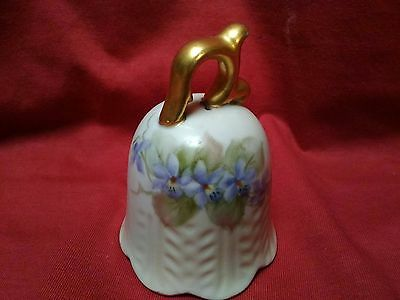 L12 Hand Painted Artist Signed Small Porcelain Bell~Limoges?~Excellent Condition