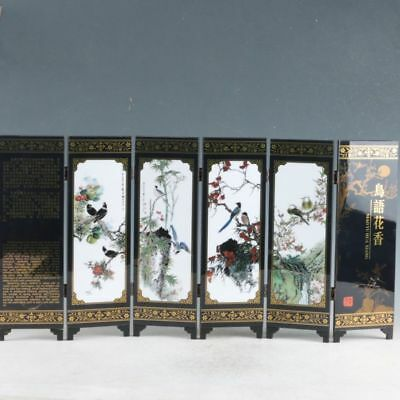 """Chinese Lacquer ware Handwork Painted Birds & flowers screen """"鸟语花香"""""""