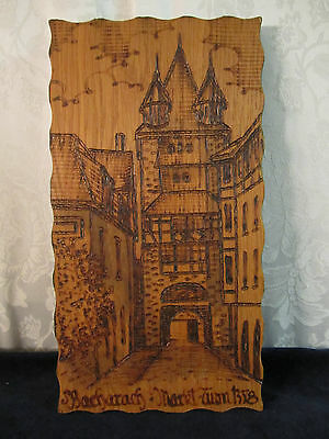 Vintage Bacharach Germany Wood Art Souvenir Plaque Tower Pyrography Woodburning