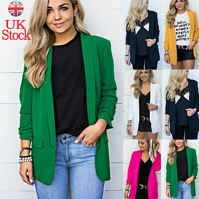 UK Womens Ladies Formal Long Sleeve Lapel Blazer Jacket OL Work Cardigan Outwear