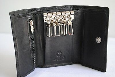 Brand New Apples Mens Trifold Black Leather Keycase Coins & Notes