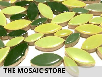 Green Mixed Ceramic Petals - Mosaic Tiles Supplies Art Craft