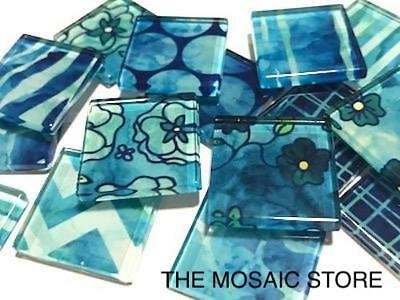 Blue Patterned Glass Mosaic Tiles 2.5cm - Mosaic Art Craft Tiles Supplies