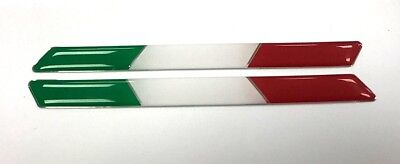 2 x ITALY FLAGS - HIGH GLOSS DOMED GEL FINISH Stickers/Decals - Italian