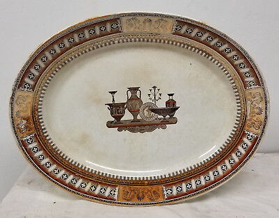 Antique Large Stoneware Porcelain Etruscan Style Platter Tray Cracks Neoclassica