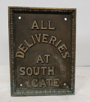 Antique Heavy Bronze Building Plaque Deliveries South Gate