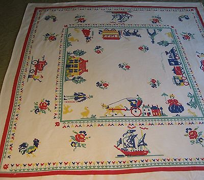 Vintage Leacock Tablecloth Flower Train Rooster 33 X 36 Blue Red Farmhouse