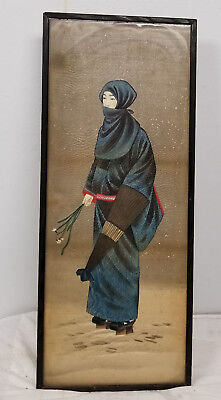 Antique Japanese Painting on Silk of a Lady Decorative Scroll