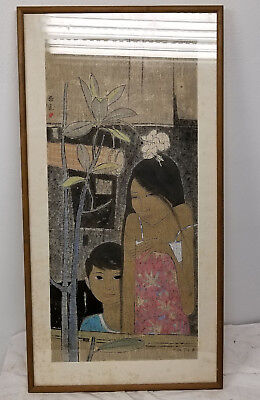 Antique Vintage Large Tay Chee Toh Woodblock Print SIgned Malaysia Mother Son
