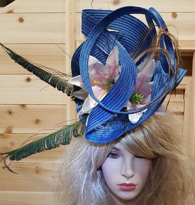 Fascinator hatinator hat races wedding blue - one off design