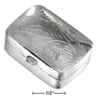 Pill Box With Etched Design Sterling Silver Rectangular High polish 24mm x 29mm.